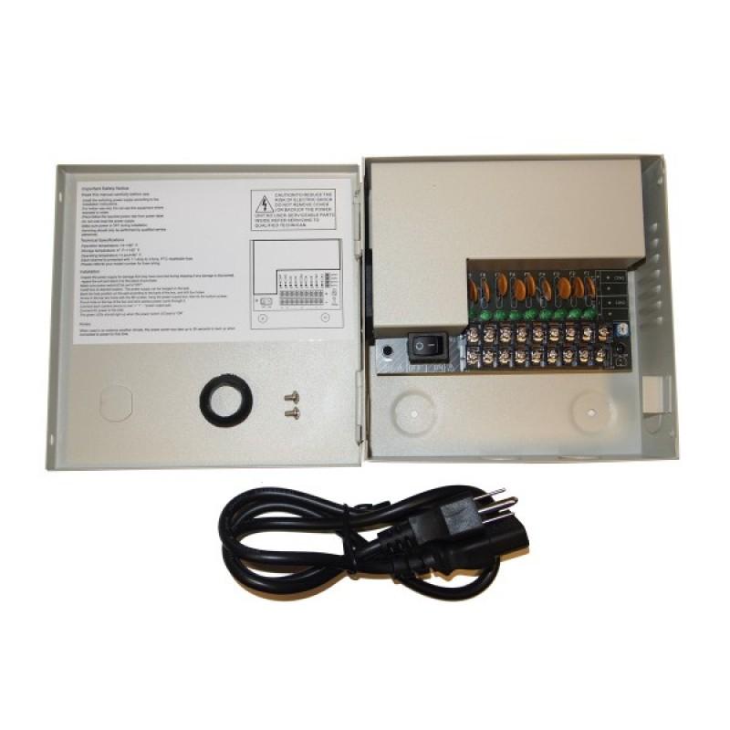 ev pb09 05psl power box size 6 25 x 6 25 9ch security camera ev pb09 05psl power box size 6 25 x 6 25 9ch security camera 5amp fuse cctv dvr power supply box for cctv cameras evertech usa