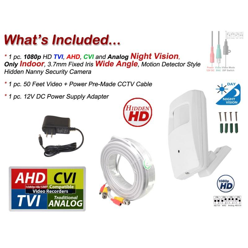 HD CVI 2MP Spy Motion Detector Camera 1080p HD Invisible Infrared Nightvision