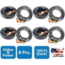 8pcs. 100 Feet Pre-made Video and Power Black Cable for CCTV Surveillance Systems