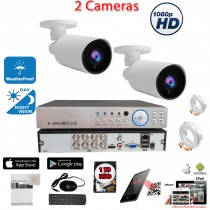 8 Channel HD Surveillance System w/ H.264 DVR and 2 pcs. 1080p Manual Zoom Adjustable Lens Bullet CCTV Security Camera w/ 1TB Hard Drive for recording