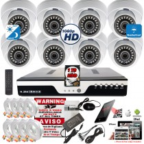 8 Channel security surveillance system with 1080p dome cameras, HD DVR Recorder w/ 1TB Hard Drive