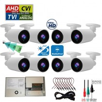 8 pcs. Evertech 1080P HD TVI AHD CVI Day Night Vision Indoor Outdoor CCTV Bullet Security Camera with 9 Channel Power Supply box