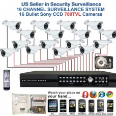 11. 16 Ch Channel Surveillance Home Office Retail Store Security System Sony CCD Bullet Camera with 1TB HDD