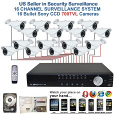 12. 16 Ch Channel Surveillance Home Office Retail Store Security System Sony CCD Bullet Camera with 1TB HDD
