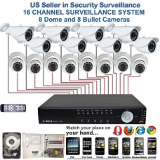 6. 16 Ch Channel Surveillance Home Office Retail Store Security System Sony CCD Dome & Bullet H.264 DVR with 1TB HDD