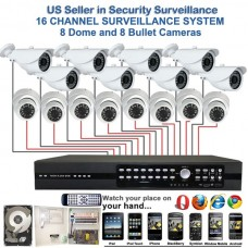 5. 16 Ch Channel Surveillance Home Office Retail Store Security System Sony CCD Dome & Bullet