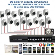 10. 16 Ch Channel Surveillance Home Office Retail Store Security System Sony CCD Dome with 2TB HDD