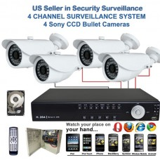 9. 4 Ch Channel Surveillance Home Office Retail Store Security DVR 700TVL Camera System Sony Effio CCD Bullet + 2TB HDD
