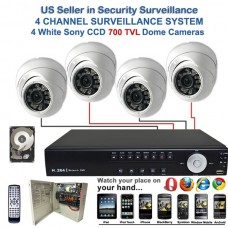 15. 4 Ch Channel Surveillance Home Office Retail Store Security DVR Camera System Sony Super HAD CCD Dome