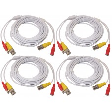 4pcs 25 Feet White Power Video PreMade Cable for CCTV Surveillance System
