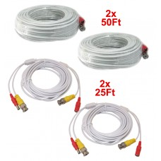2pcs EV-C050VP-W 50 Feet & 2pcs EV-C025VP-W 25 Feet White Cable CCTV Security Camera Power Video Cable Ready-Made Cable