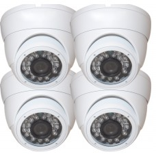 "EV-CDM168HYB V.1    -     4pcs 1/3"" Weatherproof Color 720p 20m IR LED Metal Security CCTV DOME Camera"