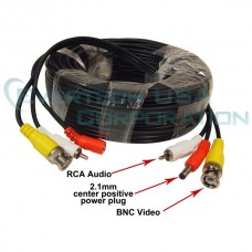 EV-C050VPA 50 Feet with Audio CCTV Security Camera Power Video Pre-Made Cable