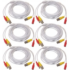 6pcs 25 Feet White Power Video PreMade Cable for CCTV Surveillance System