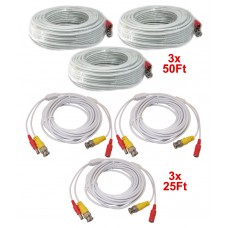 3pcs EV-C050VP-W 50 Feet & 3pcs EV-C025VP-W 25 Feet White Cable CCTV Security Camera Power Video Cable Ready-Made Cable