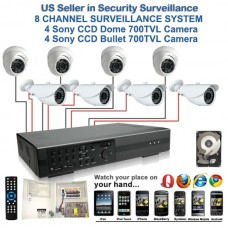 7. 8 Ch Channel Surveillance Security 700TVL Camera Sony CCD Bullet & Dome