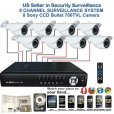 5. 8 Ch Channel Surveillance Home Security DVR Camera Sony CCD 700TVL Bullet with 1TB HDD