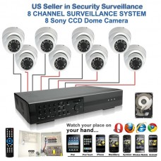 2. 8 Ch Channel Surveillance Home Security DVR Camera System Sony CCD Dome with 1 TB