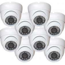 "EV-CDM168HYB V.1      -     8pcs 1/3"" Weatherproof Color 720p 20m IR LED Metal Security CCTV DOME Camera"