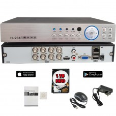 8 Channel 1080N AHD Realtime H.265 high Profile Standalone DVR Recording Compatible With AHD/TVI/CVI/ Analog Camera with 1TB HDD