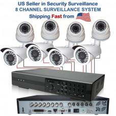 6. 8 Channel CCTV Surveillance DVR Camera Security System with 1000TVL Dome & 800TVL Bullet
