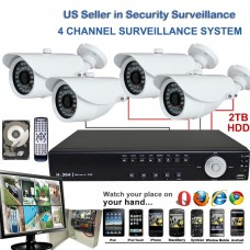 27. 4 Ch Channel Surveillance Home Office Retail Store Security DVR 700TVL Camera System Sony Effio CCD Bullet + 2TB HDD with LCD