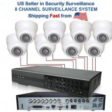 9. 8 CH Channel Security Surveillance Full 960H DVR Camera System w/ IR 800TVL Adj. Lens Dome
