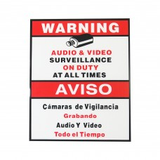 Security Alert Audio & Video Surveillance On Duty at All Times Sign Sticker CCTV Video Surveillance Warning Sign Bilingual English Spanish Size: 9 x11