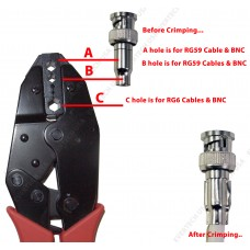 Professional Coax Coaxial BNC Connector Crimp Crimping Tool - RG59 Siamese Cables for CCTV Security Cameras