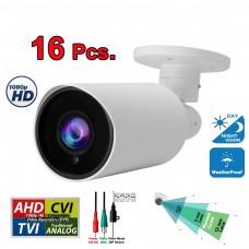 16 pcs. Evertech 1080P HD TVI AHD CVI Day Night Vision Indoor Outdoor CCTV Bullet Security Camera
