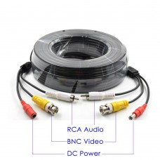 50 Feet Pre-Made Cable with Video Audio & Power  for CCTV Security Camera