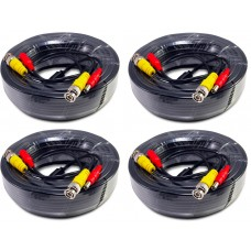 EV-C100VP-B : 4pcs. 100 Feet Black Cable CCTV Security Camera Power Video Cabe Ready Made Cable Power + Video