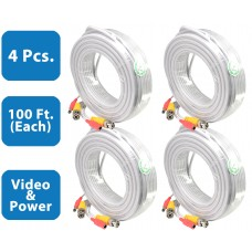 EV-C100VP-W : 4pcs. 100 Feet White Cable CCTV Security Camera Power Video Cabe Ready Made Cable Power + Video