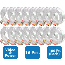 EV-C100VP-W : 16pcs. 100 Feet White Cable CCTV Security Camera Power Video Cabe Ready Made Cable Power + Video