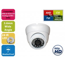"EV-CDM168HYB V.1.3    -     1pc. 1/3"" Weatherproof Color 960P / 960H 20m IR LED Metal Security CCTV DOME Camera"