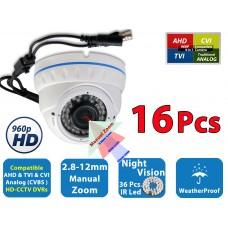 16x 960P HD AHD TVI CVI Night Vision Manual Zoom Indoor Outdoor Security Camera