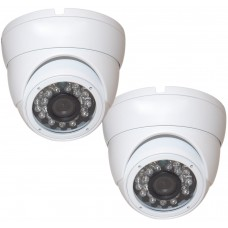 "EV-CDM168HYB V.1    -     2pcs. 1/3"" Weatherproof Color 720p 20m IR LED Metal Security CCTV DOME Camera"