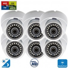 6 Pcs 1080p Dome CCTV Camera Wide Angle Lens Indoor Outdoor Weatherproof Metal casing