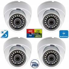 4 Pcs 1080p Dome CCTV Camera Wide Angle Lens Indoor Outdoor Weatherproof Metal casing