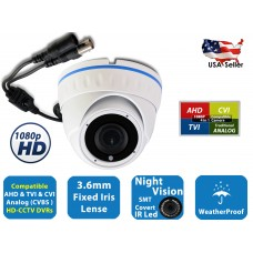 Evertech 1080P HD 4in1 Weatherproof 3.6 mm Wide Angle Fix Lens Day Night Vision Indoor Outdoor CCTV Security Dome Camera