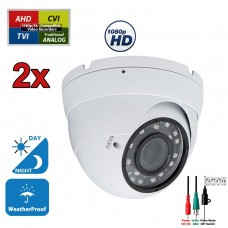 2 pcs. 1080p HD Security CCTV Camera 4-in-1 TVI/AHD/CVI/Analog (960H/CVBS) Day Night Vision Outdoor Indoor Weatherproof Wide Angle Manual Zoom CCTV Security Surveillance Camera