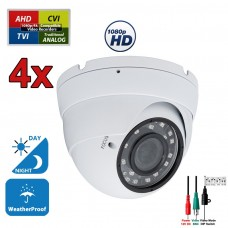 4 pcs. 1080p HD Security CCTV Camera 4-in-1 TVI/AHD/CVI/Analog (960H/CVBS) Day Night Vision Outdoor Indoor Weatherproof Wide Angle Manual Zoom CCTV Security Surveillance Camera