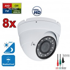 8 pcs. 1080p HD Security CCTV Camera 4-in-1 TVI/AHD/CVI/Analog (960H/CVBS) Day Night Vision Outdoor Indoor Weatherproof Wide Angle Manual Zoom CCTV Security Surveillance Camera