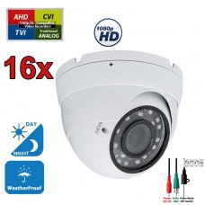 16 pcs. 1080p HD Security CCTV Camera 4-in-1 TVI/AHD/CVI/Analog (960H/CVBS) Day Night Vision Outdoor Indoor Weatherproof Wide Angle Manual Zoom CCTV Security Surveillance Camera