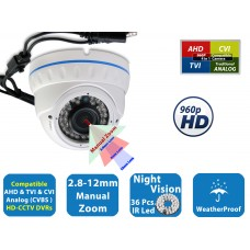 EV-CDM372HYB-1.3MP HD 960P AHD-TVI-CVI-Analog  2.8-12mm Manual Zoom Lens IR LED Dome Camera