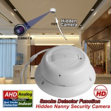 Smoke detector hidden camera 1080P AHD Analog High Definition and Traditional Analog Functional Real Smoke Alarm Detector hidden CCTV Security Camera (12V Adapter Is NOT Included)