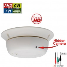 1080P HD TVI, AHD, CVI AND ANALOG Night Vision, Indoor 3.7mm Fixed Iris Wide Angle smoke detector style hidden security camera