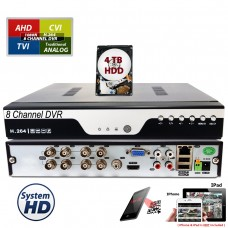 8 Channel 1080N AHD Realtime H.264 high Profile Standalone DVR Recording Compatible With AHD/TVI/CVI/ Analog Camera with 4TB HDD