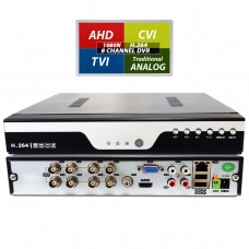 8 Channel HD Realtime H.264 high Profile Standalone DVR Recording Compatible With AHD/TVI/CVI/ Analog Cameras (No Hard Drive included)