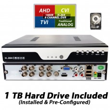 EV-DVR08XVR-1080N : 8 Channel 1080P AHD Realtime H.264 high Profile Standalone DVR Recording Compatible With AHD/TVI/CVI/ Analog Camera with 1TB HDD